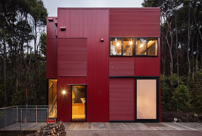 Red House in Auckland is a beautiful contrast with the landscape